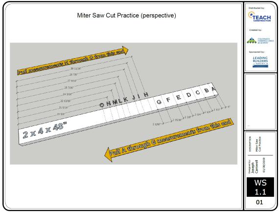 Miter Saw - Cut Practice Skills Exercise Image